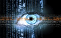 Digital image of woman's eye. Security concept