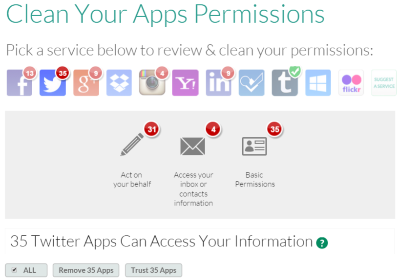 MyPermissions app permissions security screenshot