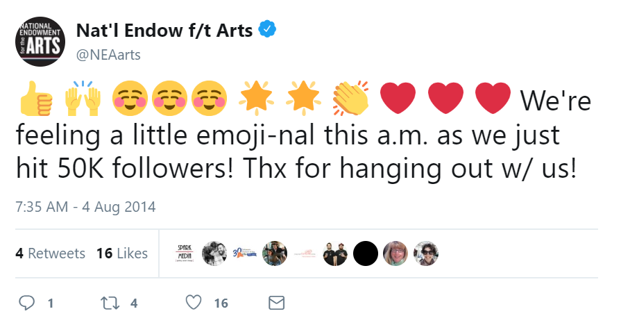 """screenshot of a tweet by the National Endowment for the Arts that has a series of emoji and then says """"We're just feeling a little emoji-nal this a.m. as we just hit 50K followers! Thx for hanging out w/ us"""