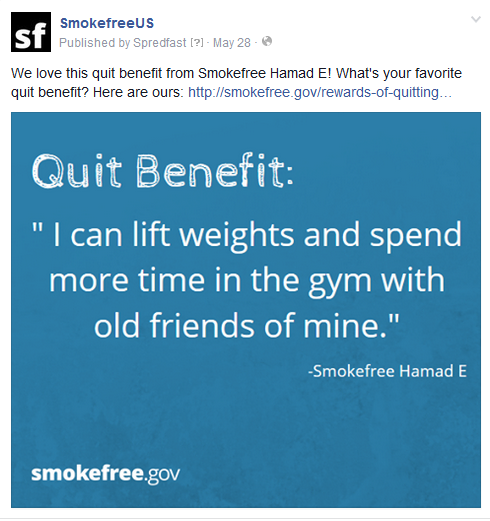 Image 1. Repurposed user-generated content on the Smokefree.gov Facebook page (SmokefreeUS).
