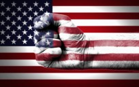 Fist Over Flag Of USA