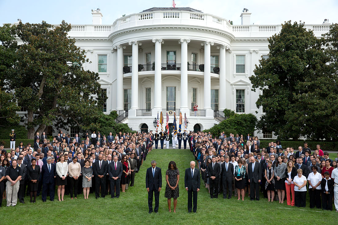 photo of September 11 moment of silence at the White House with President Obama