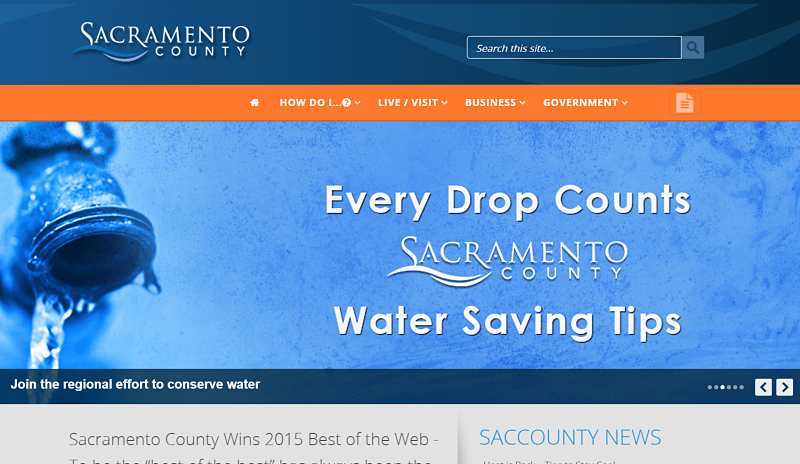 Sacramento County, California website screenshot best government websites