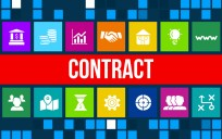 Contract  concept image with business icons and copyspace.