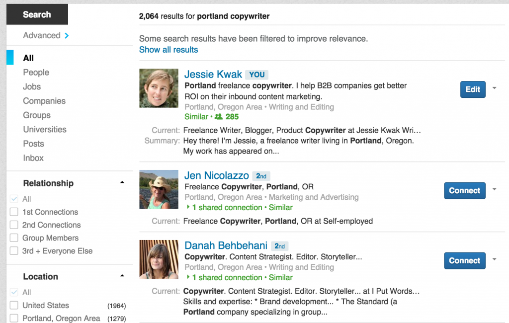 "A search for ""portland freelance writer"" in LinkedIn"
