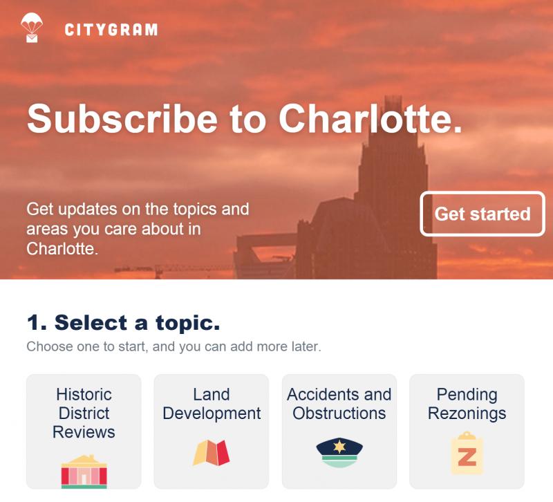 government civic technology Citygram Charlotte North Carolina