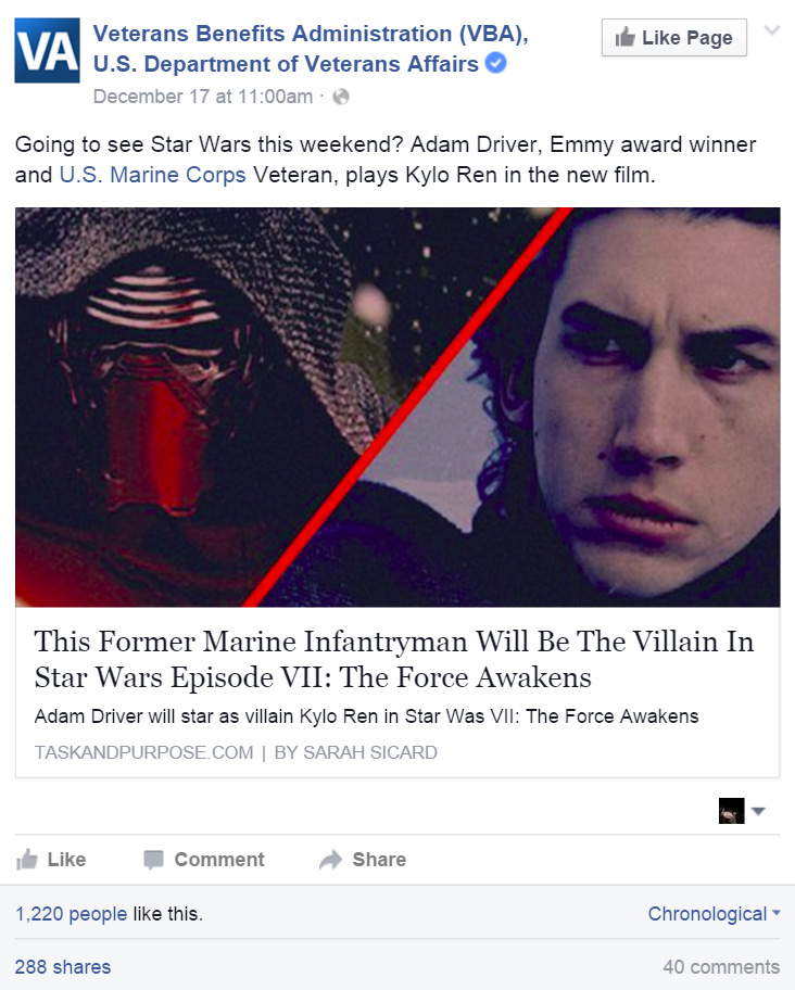Veteran Affairs Star Wars