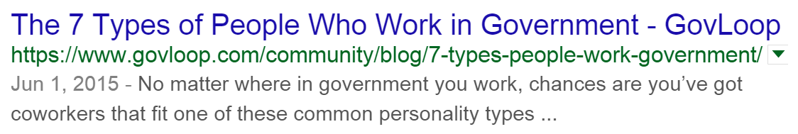 Screenshot of how a blog title looks in Google search.