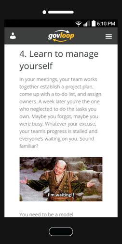Screenshot of what one of my GovLoop blog posts looks like on a smartphone.