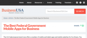 "Business.usa.gov article ""Best federal government mobile apps for business"""