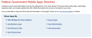USA.gov Federal Government Mobile Apps Directory