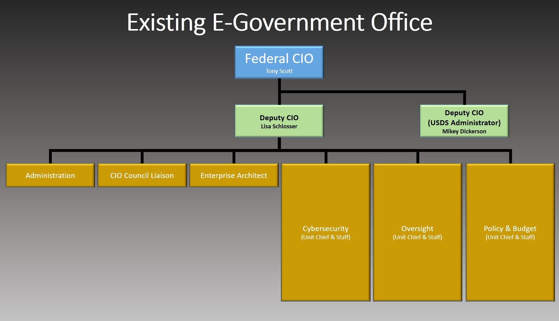 Organizational chart of the existing Office of Management and Budget Office of E-Government & Information Technology.