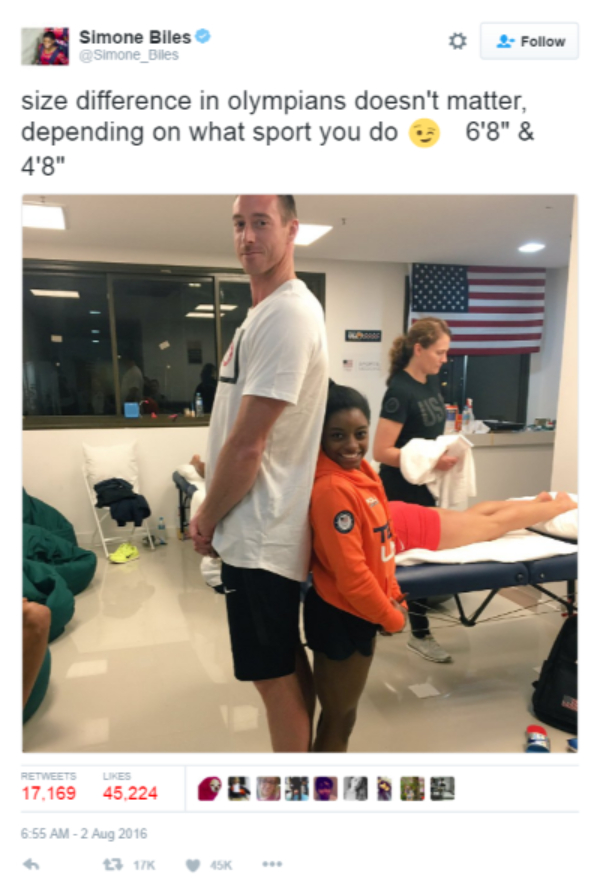 screenshot of Tweet by Simone Biles about how she's 4 feet 8 inches tall