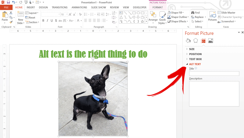 Screenshot of where to assign alt text to an image in PowerPoint