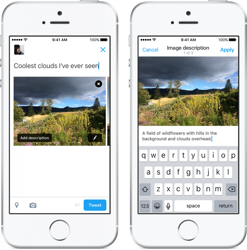 Two screen shots of the composer for Twitter for iOS. The first showing the new Add description button overlayed on a thumbnail in the composer. The second showing the composition of alt text for an image.