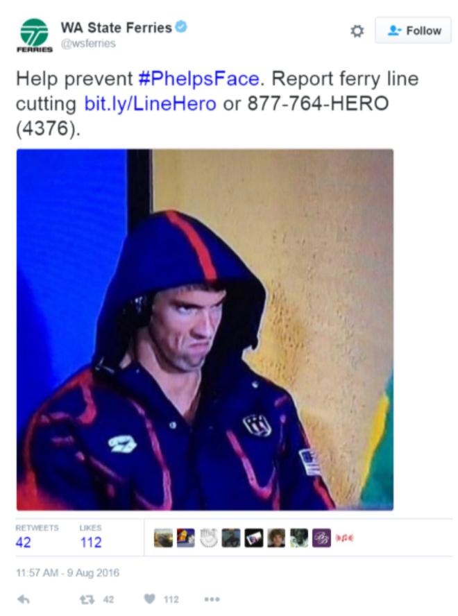 screenshot of a tweet by Washington State Ferries using the PhelpsFace meme