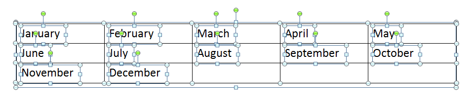 All the months of the year in a table are separated by individual text boxes.