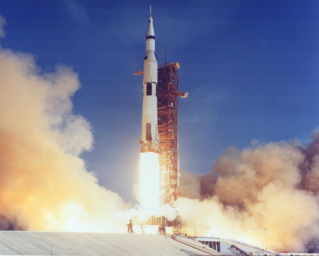 Apollo 11 rocket lifting off