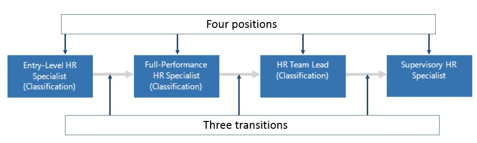 Typical career path, with four positions and three transitions