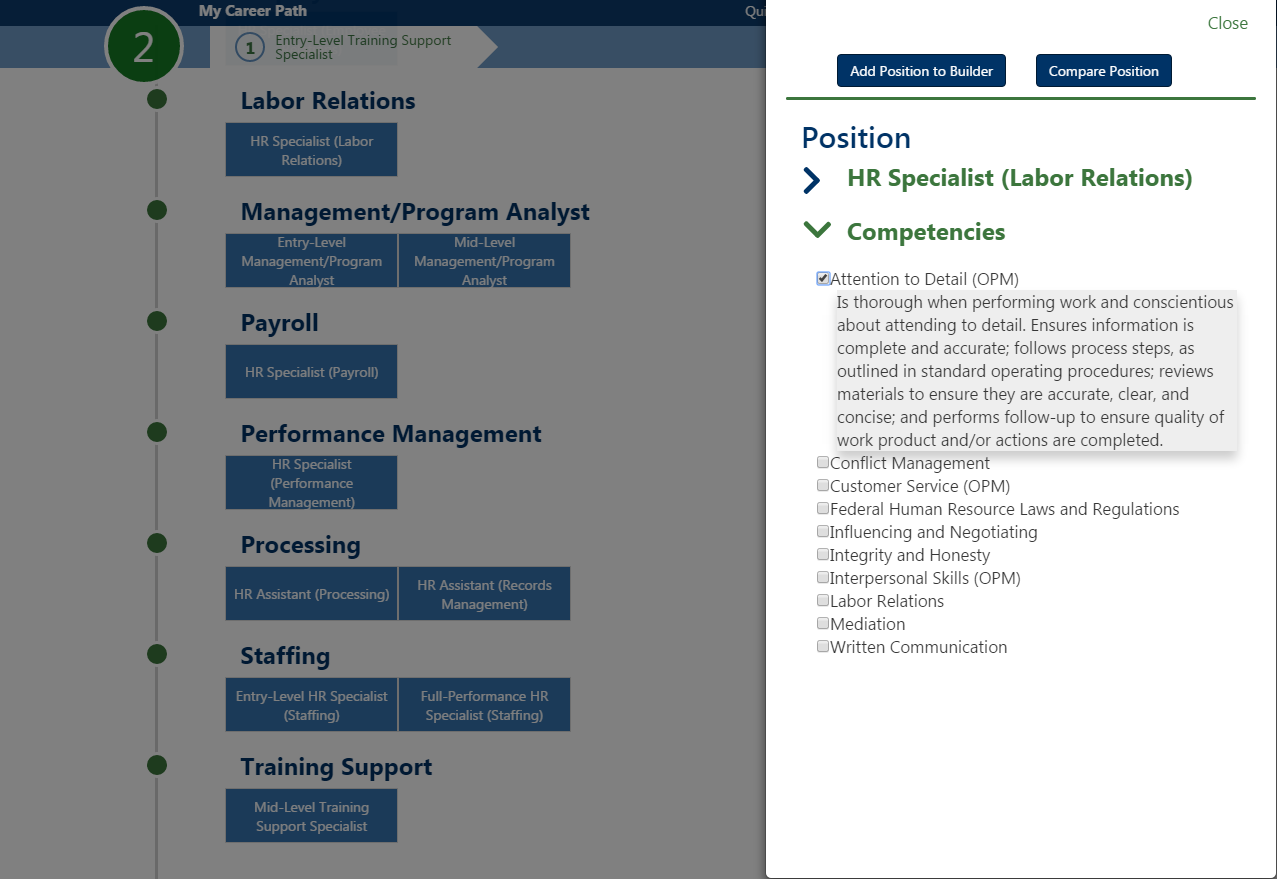 Screen shot of a screen from an online career path tool
