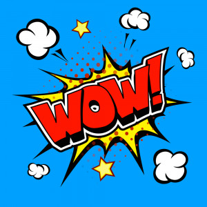 Wow Comic Speech Bubble, Cartoon vector on blue background