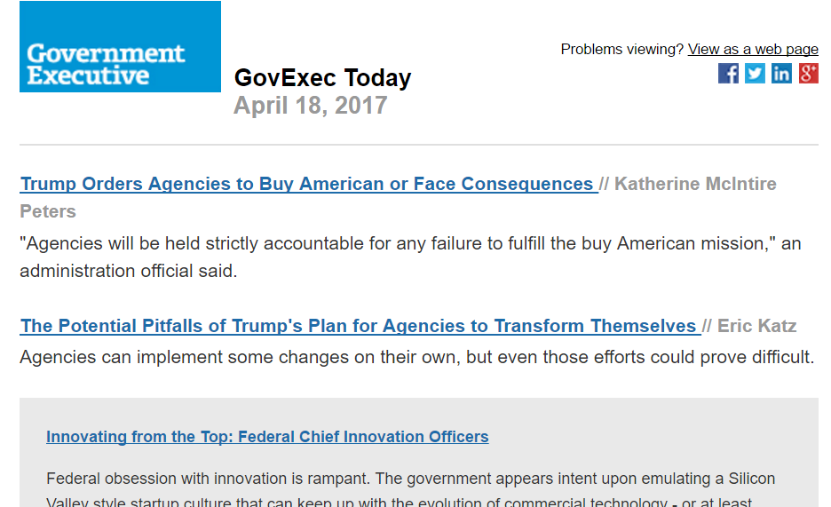 screenshot of GovExec Today newsletter