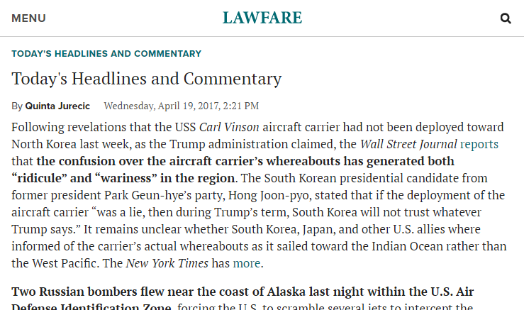screenshot of Lawfare's Headlines and Commentary