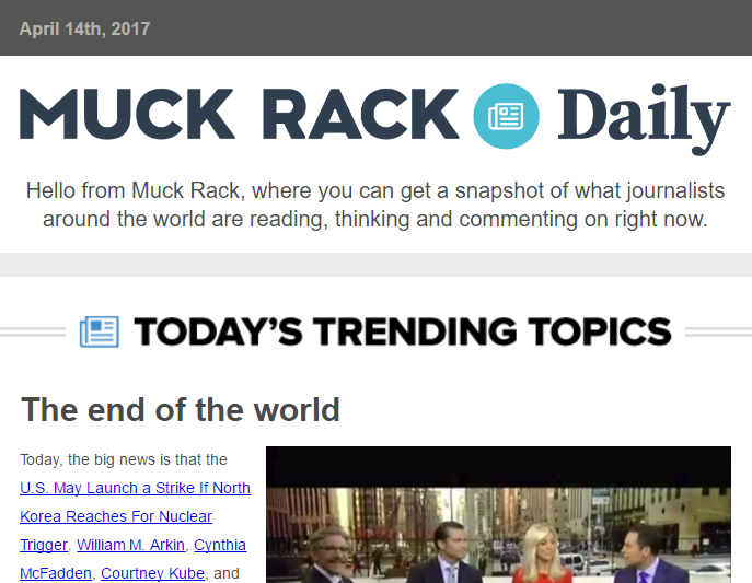 screenshot of an issue of the Muck Rack Daily email