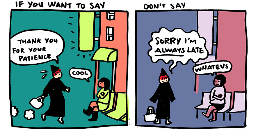 A comic strip by Yao Xiao encouraging people to say Thank You instead of Sorry