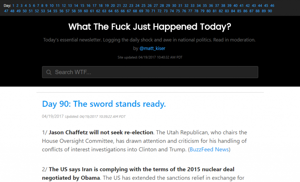 screenshot of whatthefuckjusthappenedtoday.com website