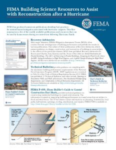 FEMA Building Science guidance for rebuilding after a hurricane