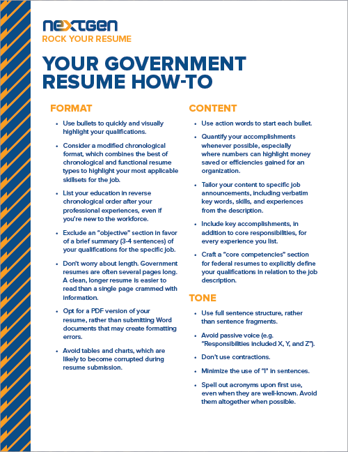 your government resume how to resources govloop