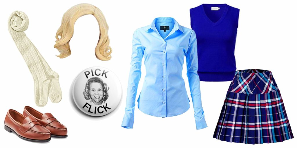 easy Halloween costume idea, government costume theme Tracy Flick from the movie Election