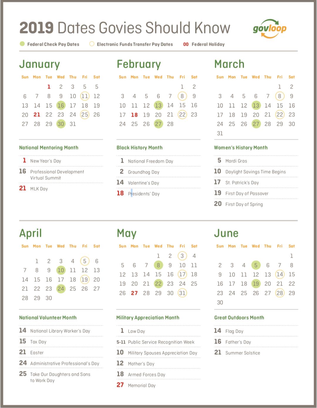 Federal Government Calendar 2019 2019 Dates Govies Should Know » Resources | GovLoop