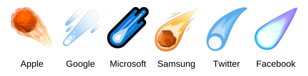 a graphic showing the comet emoji as it looks on Apple, Google, Microsoft, Samsung, Twitter, and Facebook