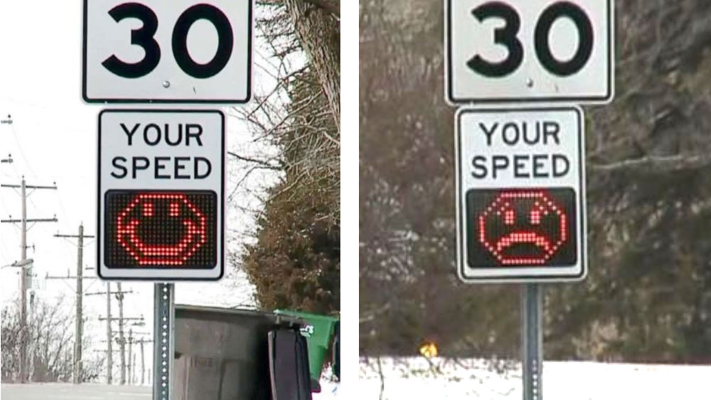 two photos of a speed limit sign, one with a happy face emoji the other with a sad face emoji shown in a digital display below the stated speed limit