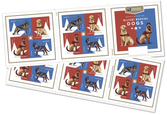 Booklets of USPS military working dog stamps.