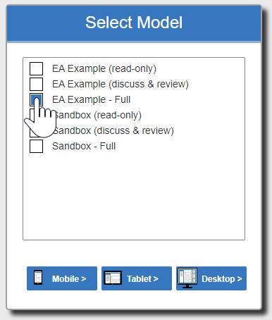 The Enterprise Architect web version interface