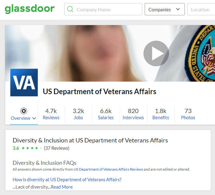 screenshot of the Glassdoor website employer profile of the US Department of Veterans Affairs showing the agency's Diversity & Inclusion ranking