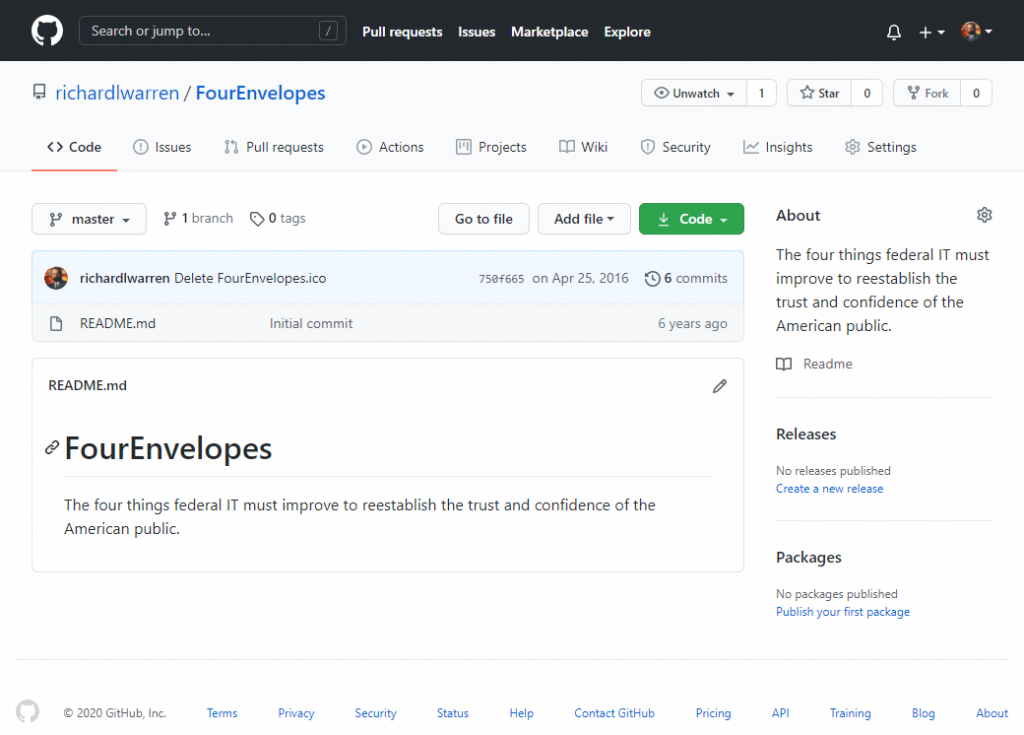 A GitHub screen grab