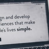 """A picture of a laptop with the text """"I design and develop experiences that make people's lives simple."""""""